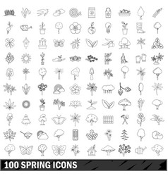 100 spring icons set outline style vector