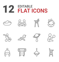 12 toddler icons vector image