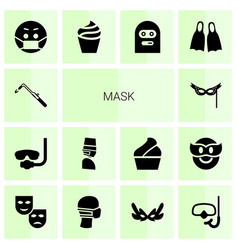 14 mask icons vector