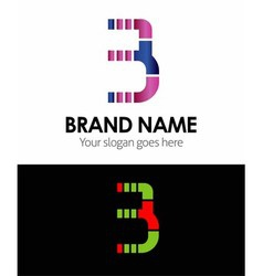 3 number logo icon vector