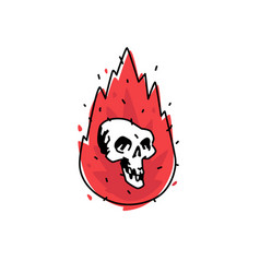 a burning white skull icon image is isolated on vector image