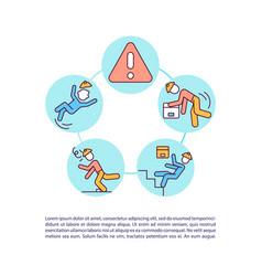Accidents in warehouse precaution concept icon vector
