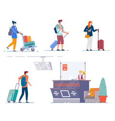 airport terminal people men and women tourists vector image