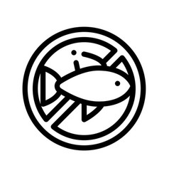 allergen free sign fish thin line icon vector image