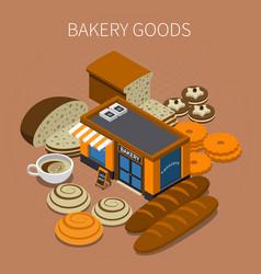 bakery goods isometric background vector image