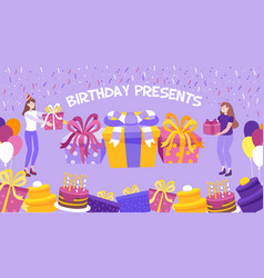 birthday present background vector image