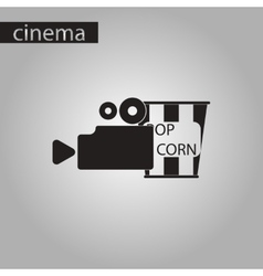 black and white style icon popcorn Cinema vector image