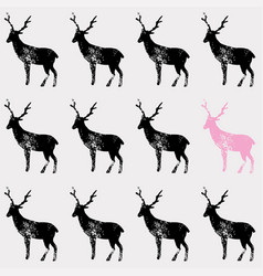 black deer stamp pattern vector image