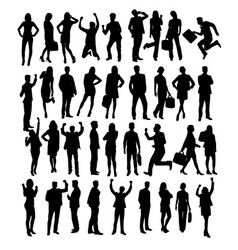 Business activity people silhouettes vector