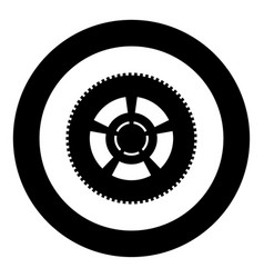 Car wheel icon black color in circle or round vector