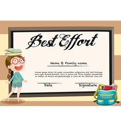 Certificate with girl and books vector