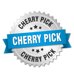 Cherry pick round isolated silver badge vector
