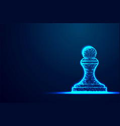 chess pawn wireframe polygon blue frame structure vector image