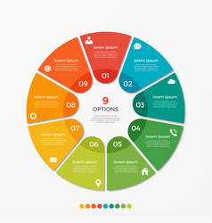 circle chart infographic template with 9 options vector image