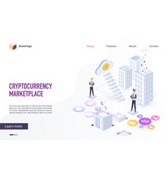 cloud mining and blockchain service website design vector image