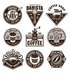 Coffee set nine black and white emblems vector