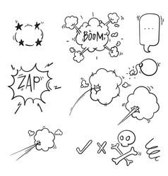 collection comic elements doodle comic vector image