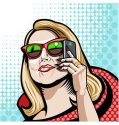 comic a girl in red with a phone vector image
