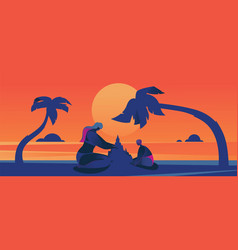 Concept with sunset scene with vector