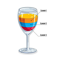 creative infographics element 3d wineglass with vector image