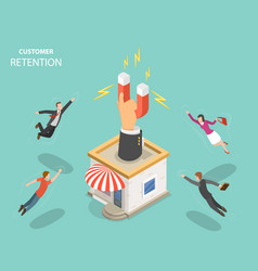 Customer retention flat isometric concept vector
