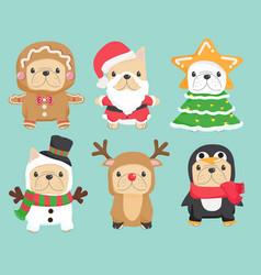 Cute funny christmas cosplay french bulldog puppy vector