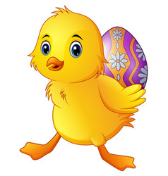 cute little duck carrying a decorated egg vector image