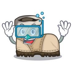 Diving working boot in shape cartoon beautiful vector