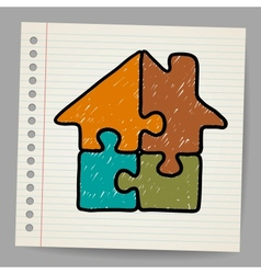 Doodle house from puzzle vector image