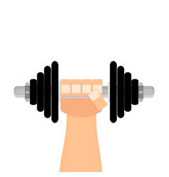 dumbbell in hand flat cartoon vector image