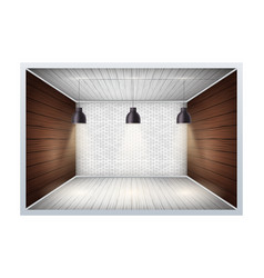 Example of empty room with brick wall vector