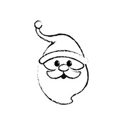 figure santa claus head with beard and hat vector image