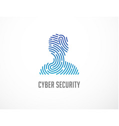 fingerprint scan logo privacy cyber security vector image