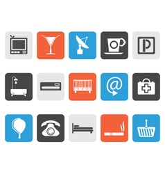 Flat Hotel and motel icons vector