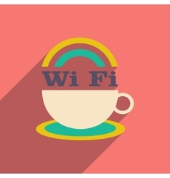 Flat with shadow icon and mobile application wi-Fi vector