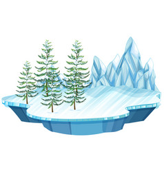 Floating ice and snow island vector