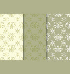 Floral seamless pattern olive green set vector