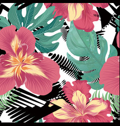 floral seamless pattern tropical flower background vector image