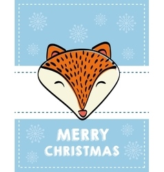 fox cartoon icon Merry Christmas graphic vector image