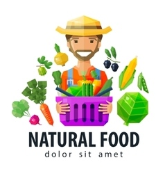 fresh food logo design template vegetables vector image
