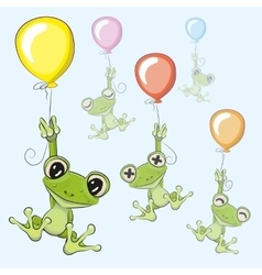 Frogs with balloon vector image