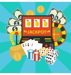 Gambling casino elements jackpot playing vector