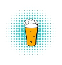 Glass of beer icon comics style vector