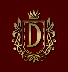 Golden royal coat of arms with d monogram vector
