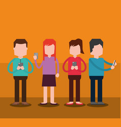 Group the people using smartphone technology vector