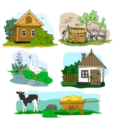 Hand drawn with houses in village animals vector image