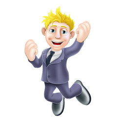 Happy businessman jumping vector