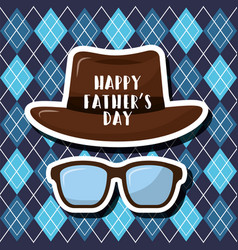happy fathers day vintage hat glasses and blue vector image
