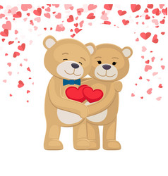 happy teddy bears family holding red heart in paws vector image