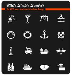 Harbor white icon set vector